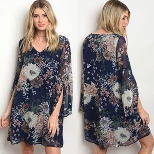 Dresses & Skirts - Blue Floral Dress W/ Sheer Overlay
